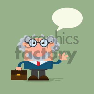 Professor Or Scientist Cartoon Character Waving With Speech Bubble Vector Illustration Flat Design With Background clipart. Royalty-free image # 404686