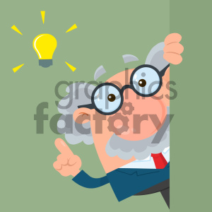 Professor Or Scientist Cartoon Character Looking Around Corner With A Big Idea Vector Illustration Flat Design With Background clipart. Royalty-free image # 404702