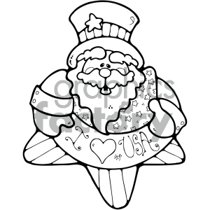 vector art patriotic uncle sam 010 bw clipart. Commercial use image # 404708