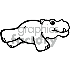 cartoon clipart hippo 001 bw clipart. Royalty-free image # 404738