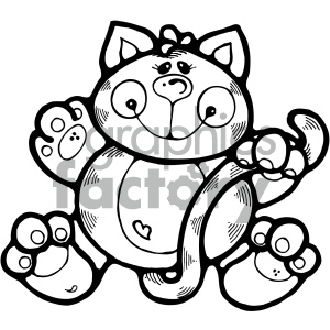 cartoon clipart cat 002 bw clipart. Royalty-free image # 404768
