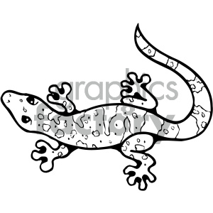 cartoon clipart gecko 005 bw clipart. Commercial use image # 404808