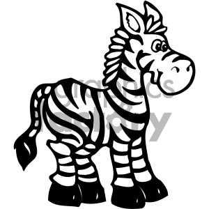 cartoon clipart zebra 001 bw clipart. Commercial use image # 404902