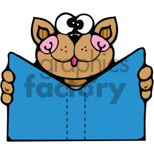 cat reading a blue book clipart. Royalty-free image # 405022