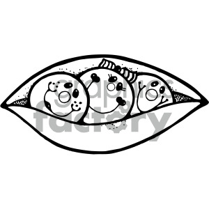 three peas in a pod black white clipart. Royalty-free image # 405111