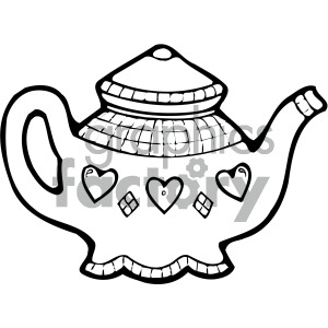 black white cartoon teapot art clipart. Commercial use image # 405122