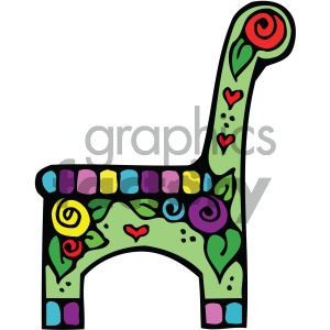cartoon chair with flower vector clipart. Royalty-free image # 405129