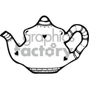 black white teapot clipart. Commercial use image # 405156