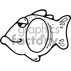 black white fish frame clipart. Commercial use image # 405181