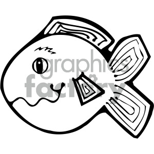 cartoon vector fish 008 bw clipart. Royalty-free image # 405264