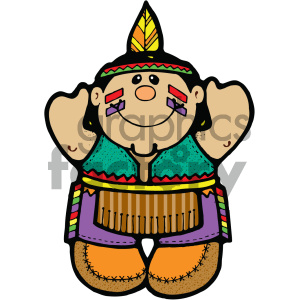 native american indian boy vector art clipart. Royalty-free image # 405293