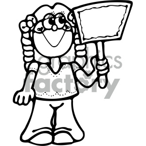 black and white girl holding sign clipart. Commercial use image # 405297