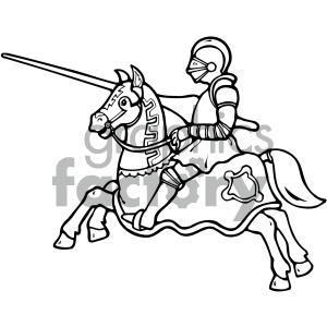 black and white knight on a horse art clipart. Commercial use image # 405324