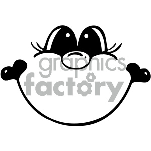 cartoon people human character cute face smile smiling happy black+white