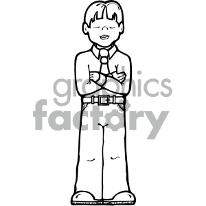 black white cartoon boy with arms crossed clipart. Commercial use image # 405353
