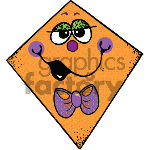 orange kite vector image clipart. Commercial use image # 405450