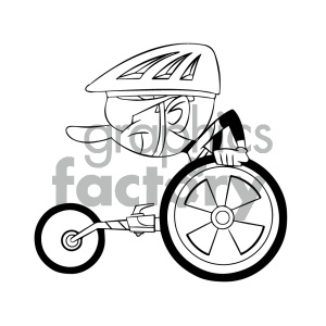 black and white cartoon disabled racer clipart. Royalty-free image # 405569