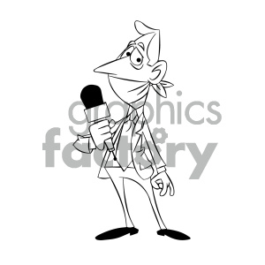 black and white cartoon journalist silenced censored propaganda clipart. Royalty-free image # 405619