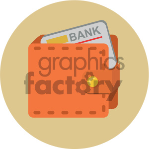 wallet with credit card circle background vector flat icon