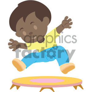 people cartoon child jumping trampoline fun african+american