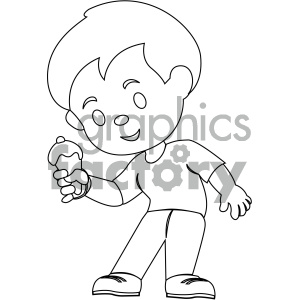 black and white coloring page boy eating ice cream vector illustration