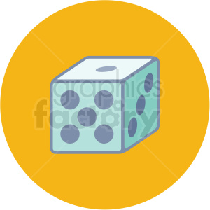 dice icon with yellow circle background clipart. Royalty-free image # 406024