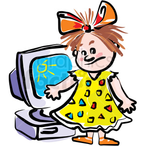 A little girl standing in front of a computer animation. Royalty-free animation # 159005