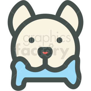 dog with bone in mouth vector icon