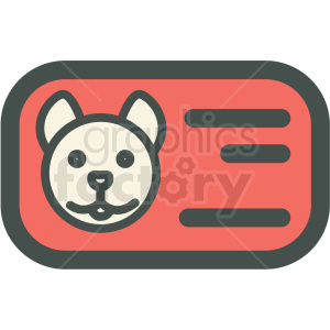 dog id card vector icon clipart. Commercial use image # 406418