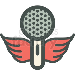 microphone with wings vector icon image clipart. Commercial use image # 406596