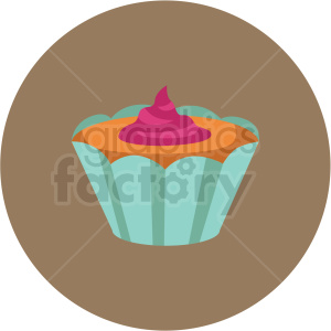cupcake vector flat icon clipart with circle background clipart. Royalty-free image # 406731