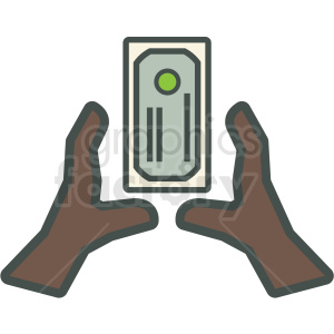 african american hands grabbing money vector icon clipart. Royalty-free image # 406884