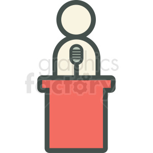 person at a podium vector icon clipart. Commercial use image # 406895