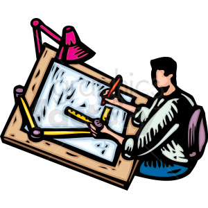 An Architect Working at a Drafting Table using a lot of tools clipart. Royalty-free image # 156319