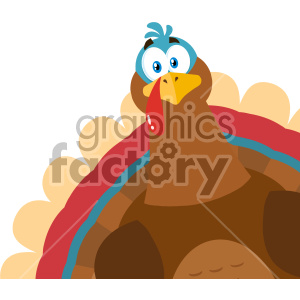 Thanksgiving Turkey Bird Cartoon Mascot Character Peeking From A Corner Vector Illustration Flat Design Isolated On no Background clipart. Royalty-free image # 406967