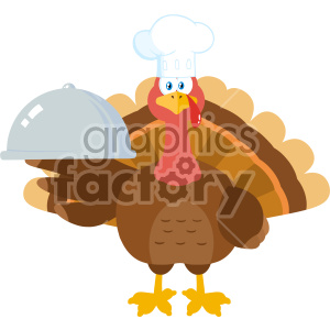 Turkey Chef Cartoon Mascot Character Holding A Cloche Platter Vector Illustration Flat Design Isolated On no Background clipart. Commercial use image # 406978