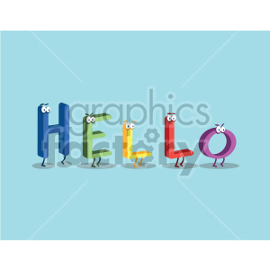 Hello word characters with blue background clipart. Commercial use image # 407047