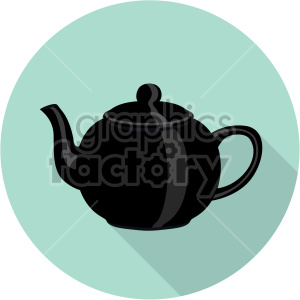 black kettle on ocean green circle background flat icons clipart. Royalty-free icon # 407189