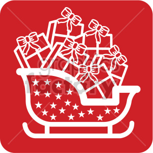 white santa sleigh full of gifts vector icon clipart. Commercial use image # 407236