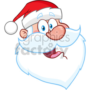 Happy Santa Claus Face Classic Cartoon Mascot Character Vector Illustration clipart. Royalty-free icon # 407256
