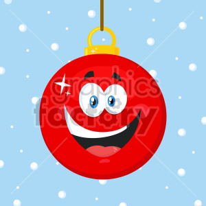 Happy Red Christmas Ball Cartoon Mascot Character Vector Illustration Flat Design Over Background With SnowFlakes clipart. Royalty-free image # 407282