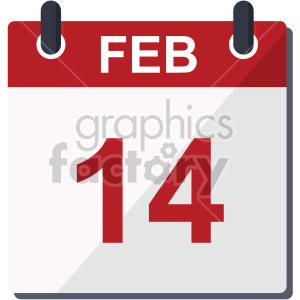 february 14 calendar valentine vector icon clipart. Royalty-free image # 407451