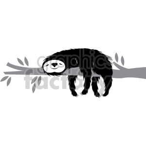sloth sleeping on a branch clipart. Commercial use image # 407582