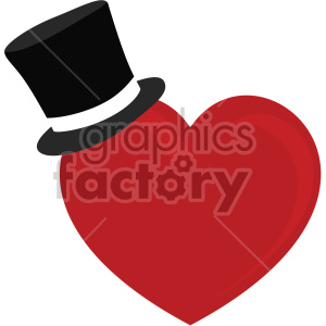 heart with top hat for valentines no background clipart. Royalty-free image # 407588