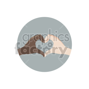 hands in shape of heart end racism on circle background