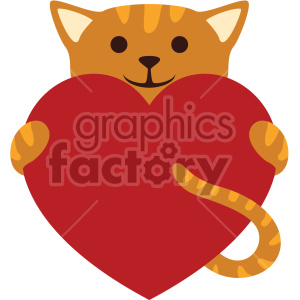 cat holding big heart no background clipart. Commercial use image # 407594