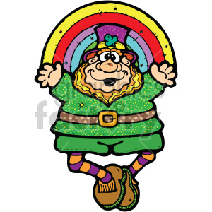 st+patricks+day irish cartoon character leprechaun rainbow