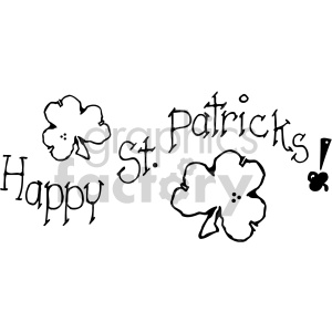 happy st patricks shamrock clover 006 bw clipart. Commercial use image # 407729