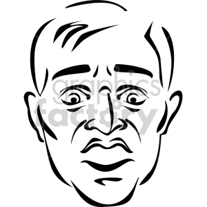 black and white mans face clipart. Commercial use image # 157260