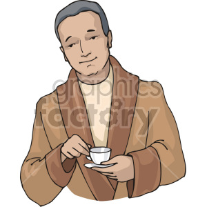 man holding a cup of tea clipart. Royalty-free image # 155355